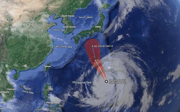 Super Typhoon Hagibis expected path