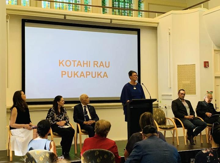 On stage: Pānia Papa (speaking),Witi Ihimaera, Michael Steed, Haare Williams, Prime Minister Jacinda Ardern and Miriama Kamo.