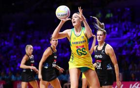 Caitlin Bassett of Australia playing against Silver Ferns.