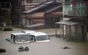 Flooding in Japan as Typhoon Hagibis lashes the east of the country.