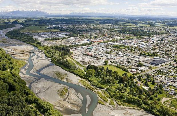 Aerial view of Ashburton and its river