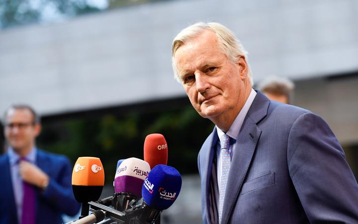 EU Brexit negotiator Michel Barnier speaks to journalists before a summit on Brexit in Luxembourg on 15 October 2019.