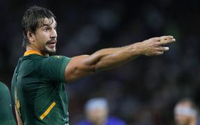 South Africa's lock Eben Etzebeth gestures during the Japan 2019 Rugby World Cup Pool B match between South Africa and Italy.
