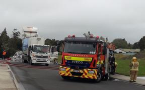 Recycling truck fire in Warkworth, Auckland