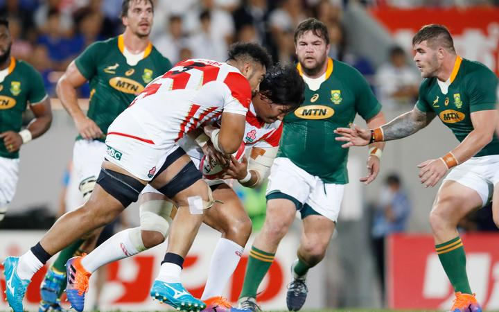 Brave Blossoms Uwe Helu and Keita Inagaki versus South Africa in RWC warm up match.