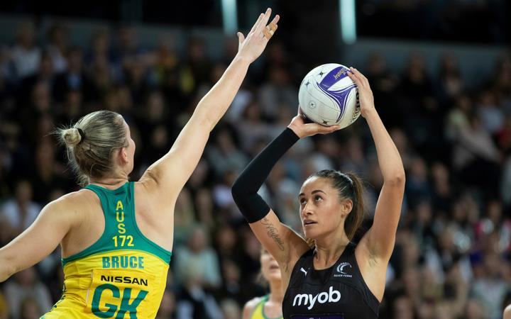 Silver Ferns Maria Folau - Constellation Cup Game 2, between the NZ Silver Ferns v Australian Diamonds, held at Spark Arena, Auckland, New Zealand.  16 October 2019       Photo: Brett Phibbs / www.photosport.nz