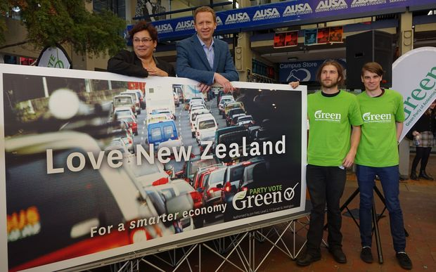 Green co-leaders Metiria Turei, left, and Russel Norman with supporters.