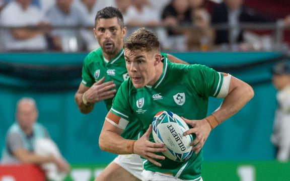 Irish rugby player Garry Ringrose on the way to scoring a try.
