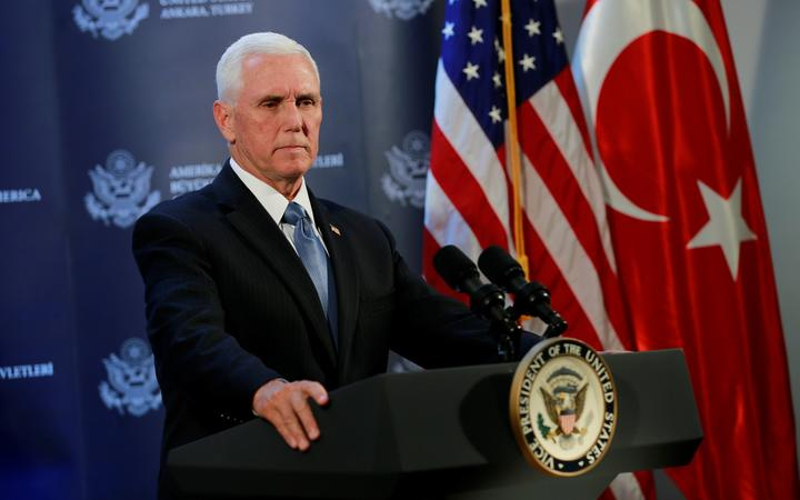 US Vice President Mike Pence holds a media conference at the US Embassy in Ankara, Turkey on 17 October 2019.