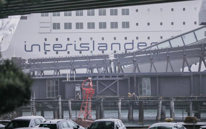 A close up of the Interislander ferry that returned to Wellington port due to a security threat.