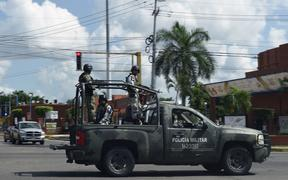 Members of the National Guard patrol a street in Culiacan, Sinaloa state, Mexico, on October 18, 2019. - army, military
