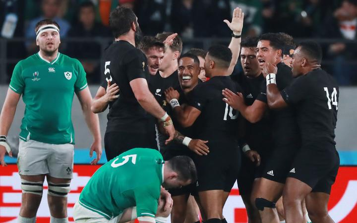 Aaron Smith of New Zealand celebrates after scoring a try in the first half of the 2019 Rugby World Cup Japan Quarter-Finals match against Ireland at Tokyo Stadium in Chofu City, Tokyo on October 19, 2019.