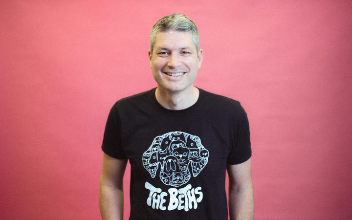 RNZ Afternoons' host Jesse Mulligan in his Beths t-shirt