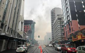 Smoke from the NZ International  convention centre fire still visible in the Auckland CBD on Wednesday.