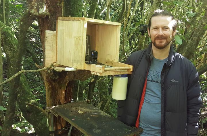 Daniel Donoghue next to his 'drop-in' kākā feeding station at Zealandia.