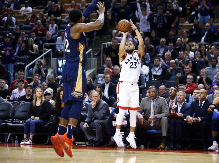 Toronto Raptors point guard Fred VanVleet puts up a shot against the New Orleans Pelicans on the opening night of the 2019/20 NBA season.