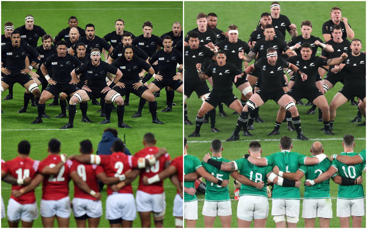 (Left) All Blacks perform haka in front of the Tongan team prior to match in the Rugby World Cup, October 2015. (Right) All Blacks perform haka ahead of the 2019 Rugby World Cup quarter-finals against Ireland at Tokyo Stadium.