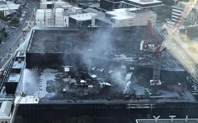 Aerial view of the roof of the International Convention Centre fire near SkyCity.