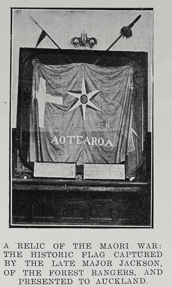 19th century newspaper photo showing Maori flag captured by Major Jackson