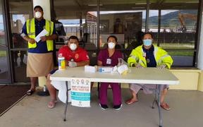 Measles screening at Pago Pago International Airport.