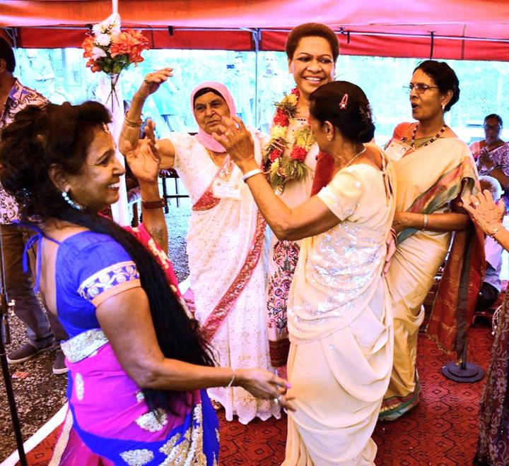 Fijian Minister for Women Mereseini Vuniwaqa celebrates Diwali with senior citizens in Ba town in 2019.