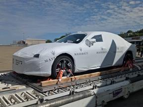 One of the luxury Maserati Sedans arriving in Port Moresby ahead of the 2018 APEC Leaders Summit.