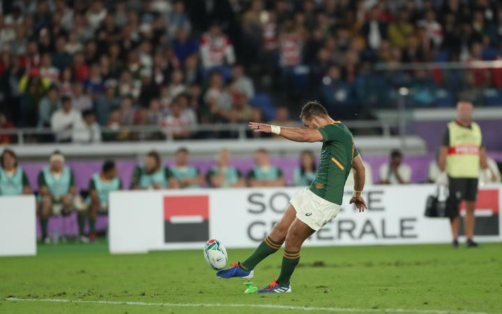 South Africa's Handre Pollard scores the team's first penalty during the first half of the Semi-Finals in the 2019 Rugby World Cup Japan against Wales.