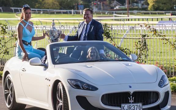 Maria Tutaia with the Auckland Cup at Ellerslie Racecourse 2017. The netballer was a regular at social engagements.