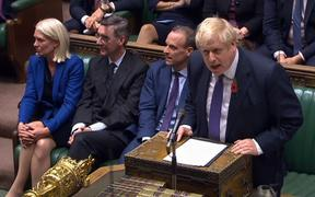 UK Prime Minister Boris Johnson speaks in the debate on holding an early general election.