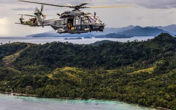 A NZDF helicopter in the Pacific.