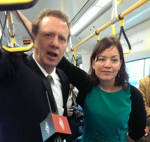 Green Party co-leader Russel Norman and transport spokesperson Julie Anne Genter made the policy announcement aboard an electric train in Auckland.