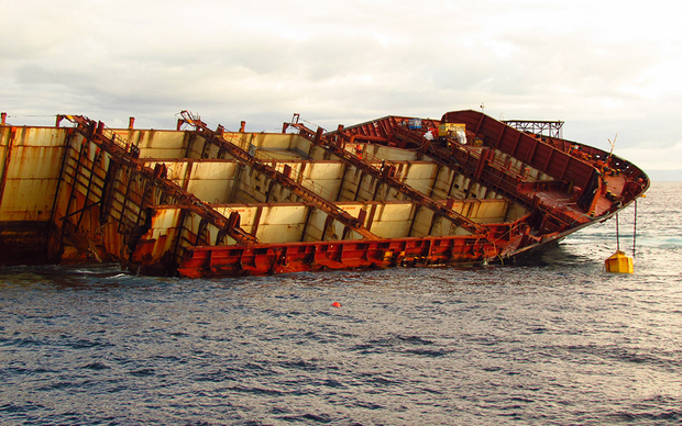 The Rena ran aground in October 2011.