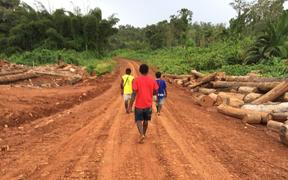 Landowners walking along a logging road in an illegally logged forest, Metamin area, New Hanover, PNG.