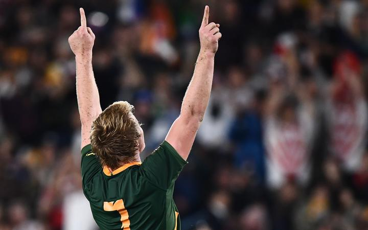 South Africa's flanker Pieter-Steph Du Toit celebrates winning the 2019 Rugby World Cup final.