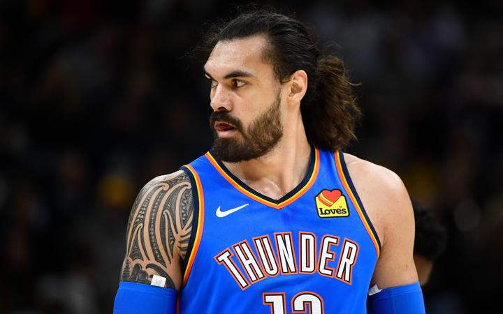 SALT LAKE CITY, UT - OCTOBER 23: Steven Adams #12 of the Oklahoma City Thunder looks on during a opening night game against the Utah Jazz at Vivint Smart Home Arena on October 23, 2019 in Salt Lake City, Utah.