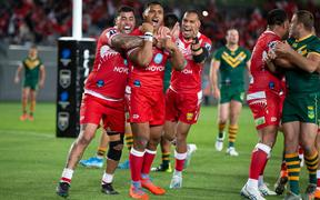 Tonga TEVITA PANGAI celebrates his try, during the rugby league match between the Australian Kangaroos and Tonga Invitational XIII at Eden Park, Auckland.  02 November  2019