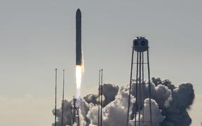 The Northrop Grumman Antares rocket, with Cygnus resupply spacecraft onboard, launches from Pad-0A of NASA's Wallops Flight Facility on November 2, 2019, in Virginia. -
