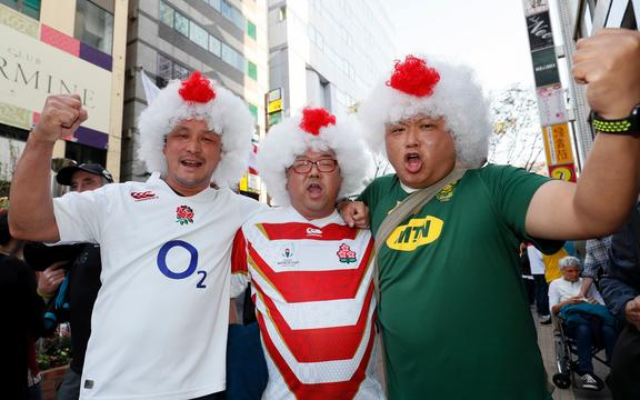 Local fans support both sides in Yokohama before England v South Africa, Final, Rugby World Cup 2019 at International Stadium Yokohama, Japan.