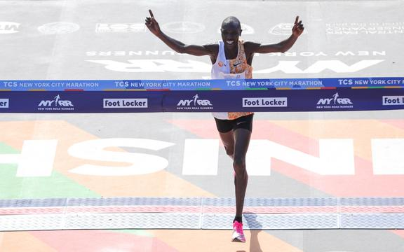 Geoffrey Kamworor crosses the finish line to win the Men's Division of the 2019 TCS New York City Marathon on November 03, 2019 in New York City.