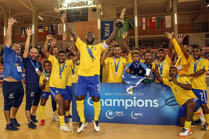 Solomon Islands celebrate winning the 2019 OFC Futsal Nations Cup.