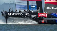 Team New Zealand's AC72 catamaran during the 2013 America's Cup