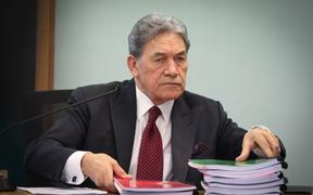 Winston Peters in the High Court at Auckland on the first day of his privacy case against former National ministers, top civil servants, and a government department.