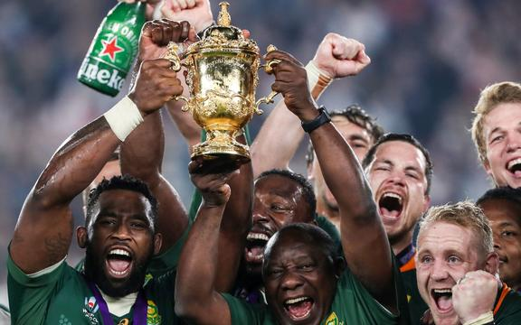 The Springboks celebrate their World Cup win