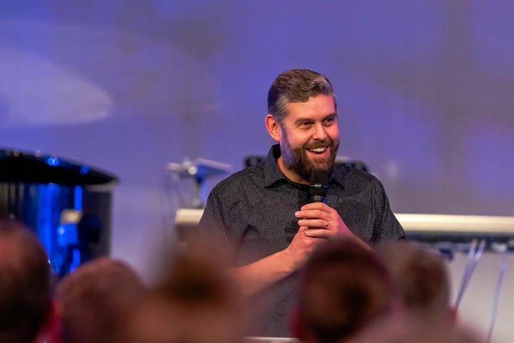 Adam Dodds of Elim Church during a regular service in Dunedin.