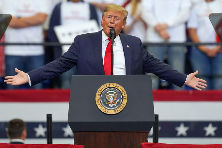President Donald Trump speaks during a campaign rally at the Rupp Arena on November 4, 2019 in Lexington, Kentucky.