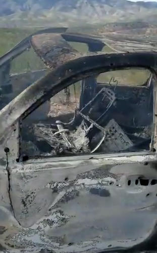 A video published by Lebaron's family on social media showing an ambushed burnt vehicle that was carrying women and children from an American Mormon family near Rancho de la Mora, in the boundaries of Sonora and Chihuahua states, northern Mexico.