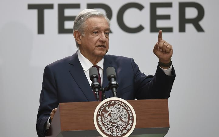 Mexico's President Andres Manuel Lopez Obrador delivers his first state of the nation address at the National Palace in Mexico City, on September 1, 2019.