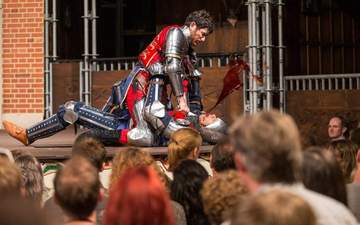 A fight scene from a pop-up Globe production choreographed by Alexander James Holloway
