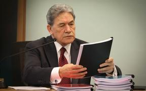 Winston Peters in court during his legal claim for a breach of privacy.