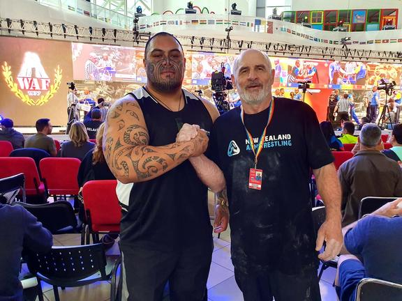 Maateiwarangi Heta-Morris in Romania at the World Armwrestling Championships.